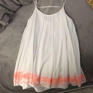 White flows dress